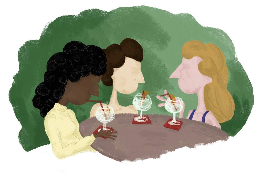 Illustration of 3 woman sat a table with wine glasses