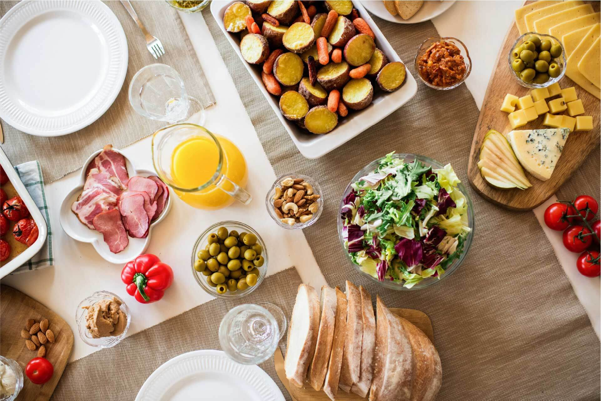 A table full of healthy looking food